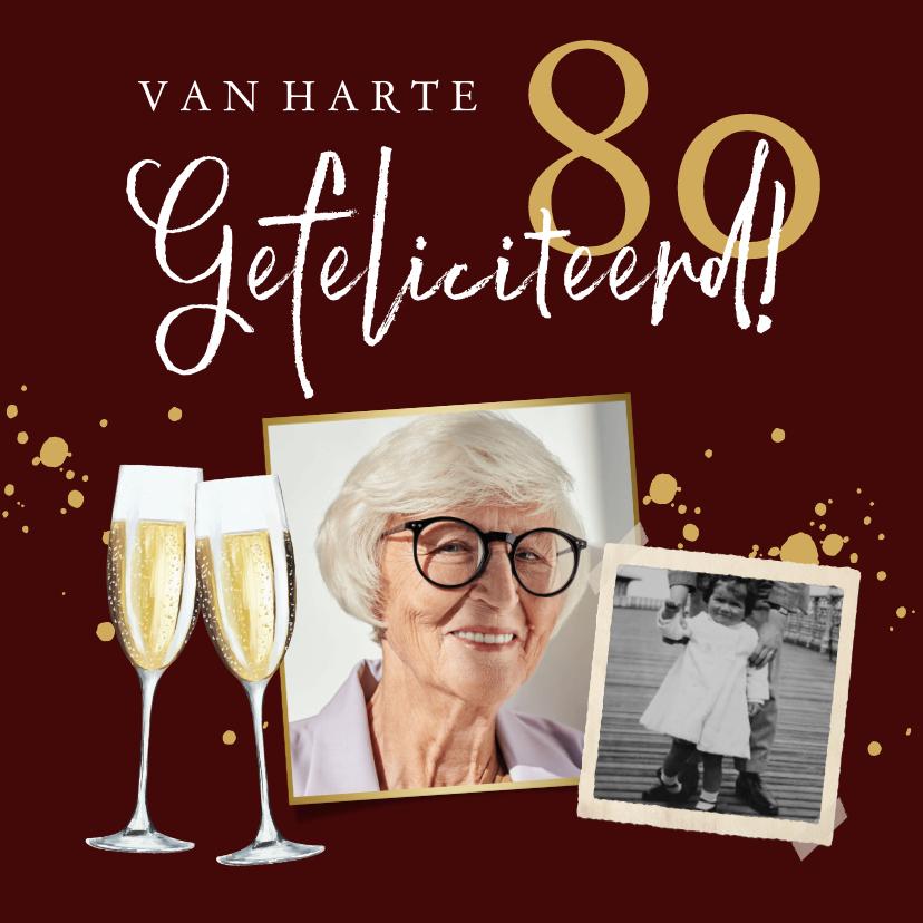 Verjaardagskaarten - Stijlvolle kaart in rood met champagne glazen