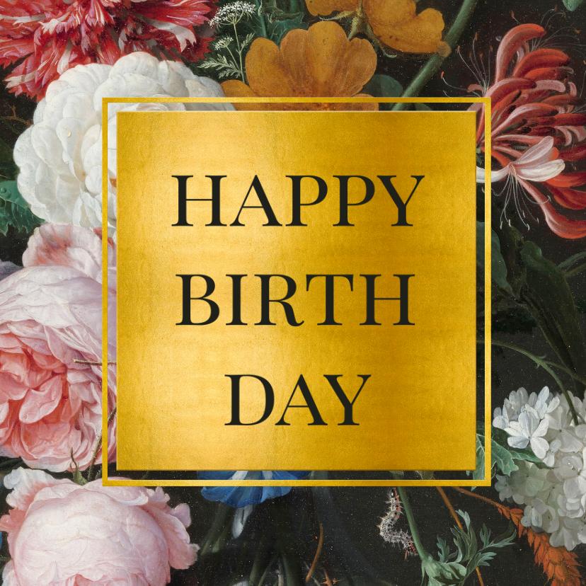Verjaardagskaarten - Stijlvolle verjaardagskaart bloemen en goud Jan Davidsz