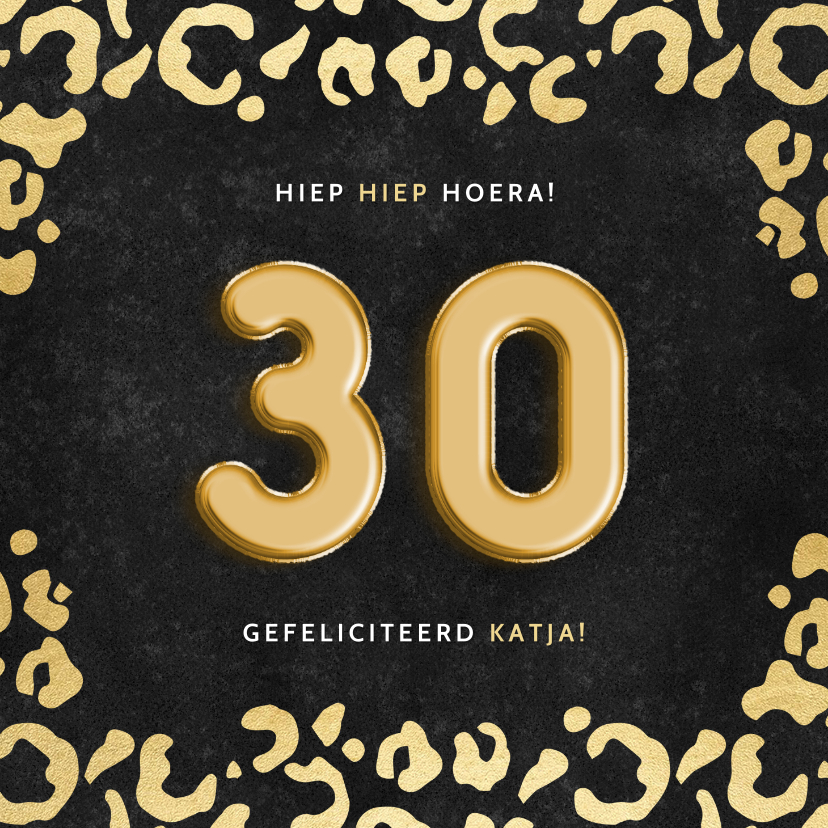 Verjaardagskaarten - Stijlvolle verjaardagskaart gouden panterprint & folieballon