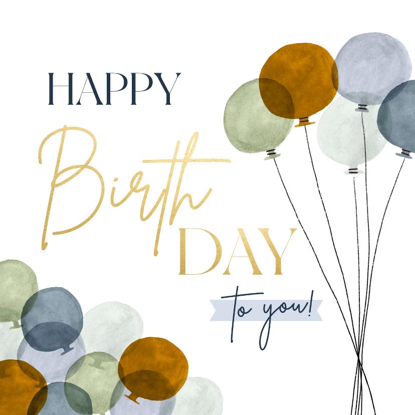 Verjaardagskaarten - Stijlvolle verjaardagskaart happy birthday goud en ballonnen