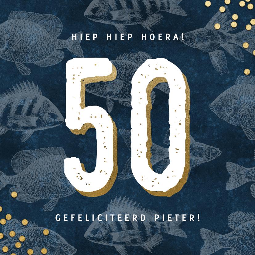 Verjaardagskaarten - Stijlvolle verjaardagskaart man 50 jaar met vissen