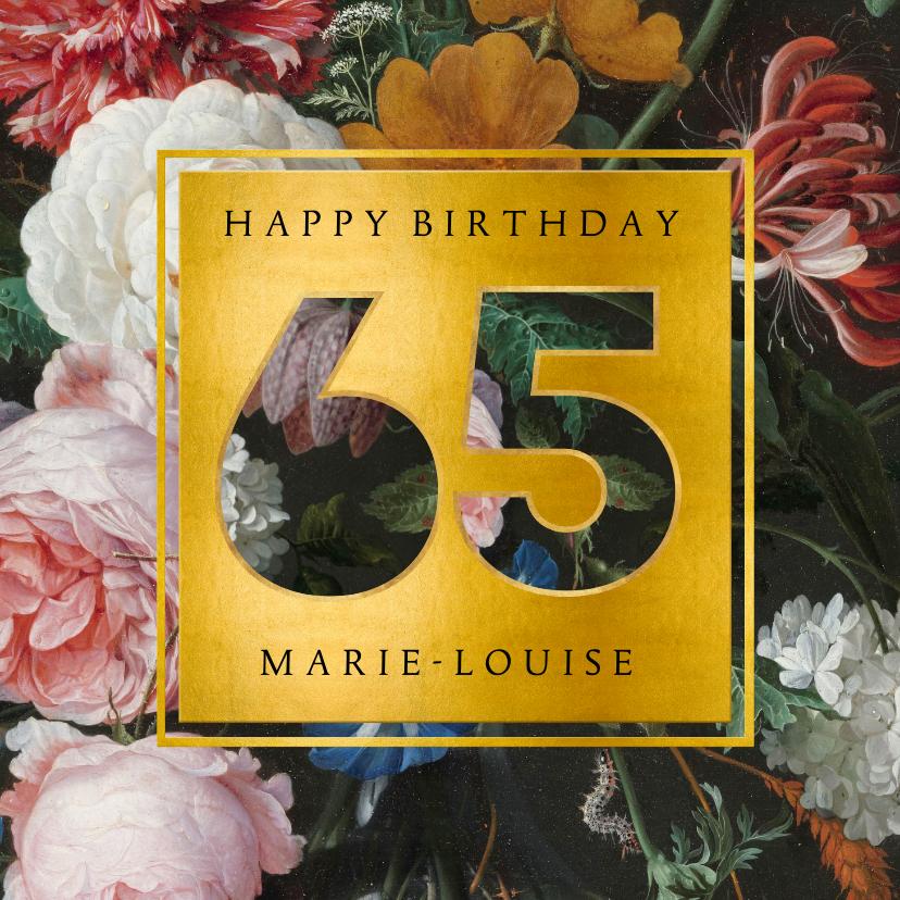 Verjaardagskaarten - Stijlvolle verjaardagskaart met bloemen en leeftijd 65