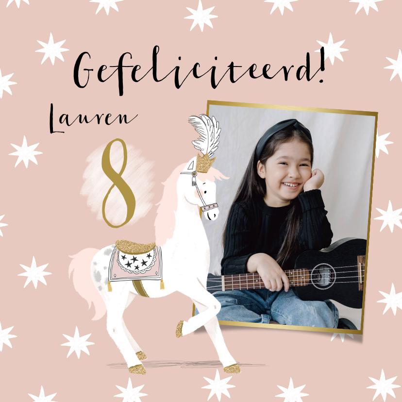 Verjaardagskaarten - Stijlvolle verjaardagskaart met circuspaard, foto's en ster