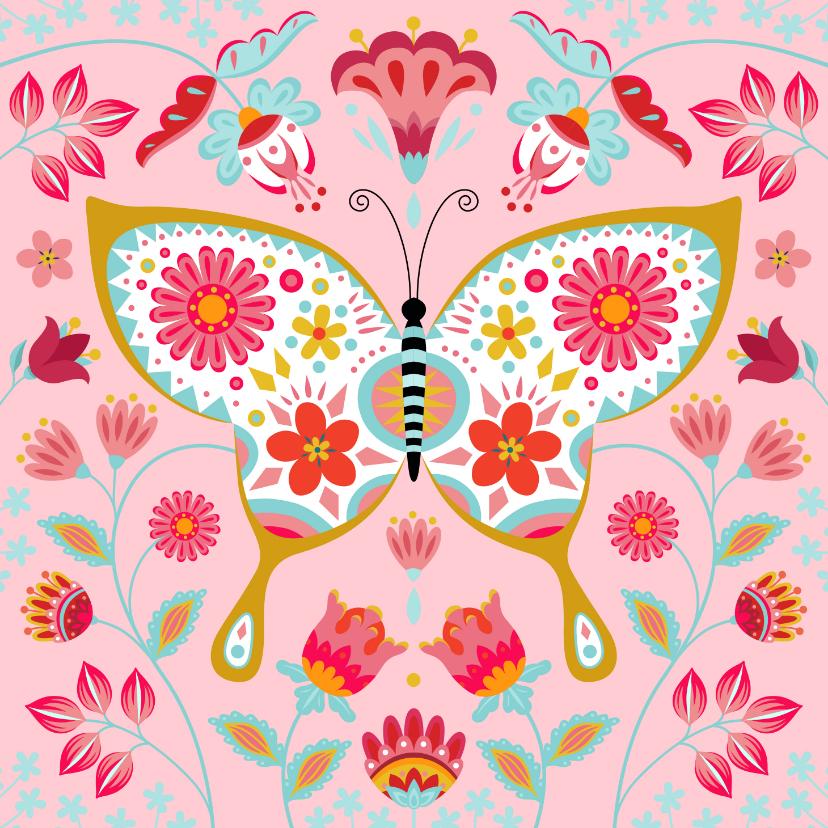 Verjaardagskaarten - Stijlvolle verjaardagskaart met vlinder, bloemen en planten