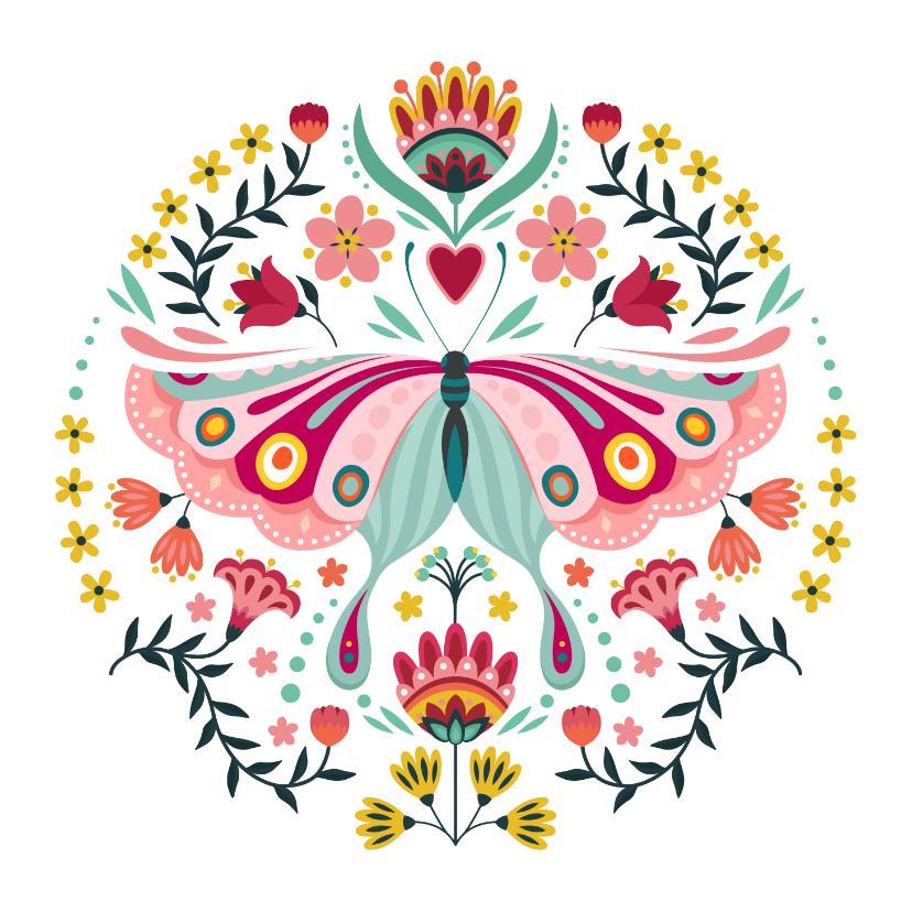 Verjaardagskaarten - Stijlvolle verjaardagskaart met vlinder en bloemen