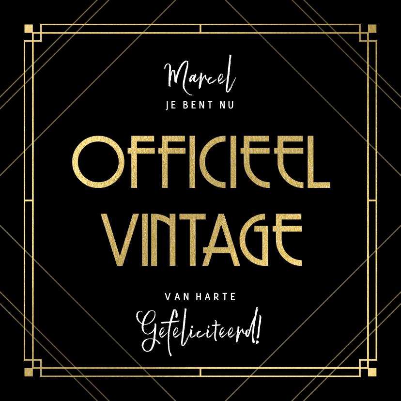 Verjaardagskaarten - Stijlvolle verjaardagskaart officieel vintage, zwart en goud