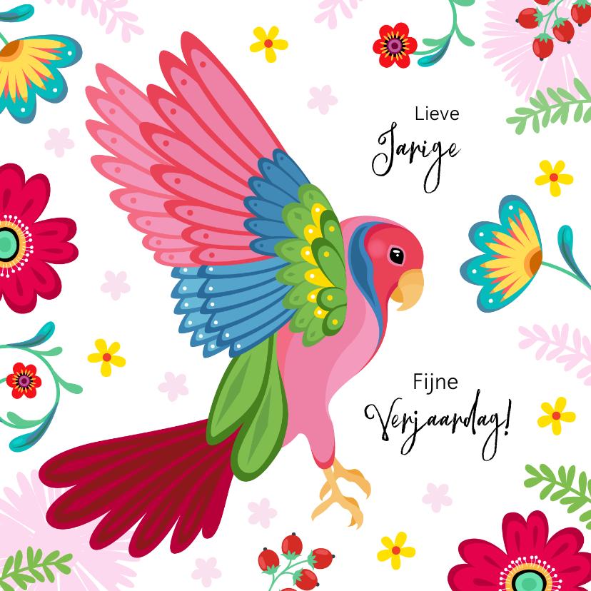Verjaardagskaarten - Stijlvolle verjaardagskaart papegaai met bloemen en planten