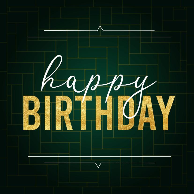 Verjaardagskaarten - Stijlvolle verjaardagskaart voor mannen met patroon en goud