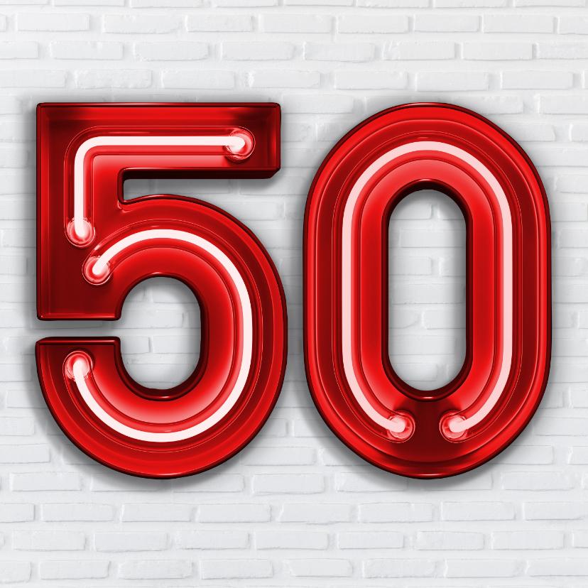 Verjaardagskaarten - Stoere industriële kaart met 50 in rode neon cijfers