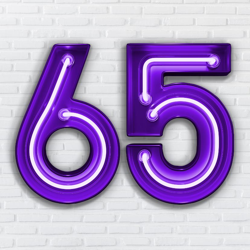 Verjaardagskaarten - Stoere industriële kaart met 65 in paarse neon cijfers