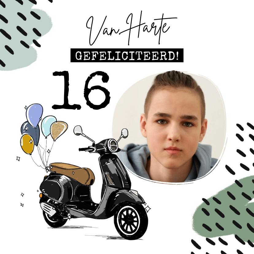 Verjaardagskaarten - Stoere kaart met geïllustreerde scooter en ballonnen
