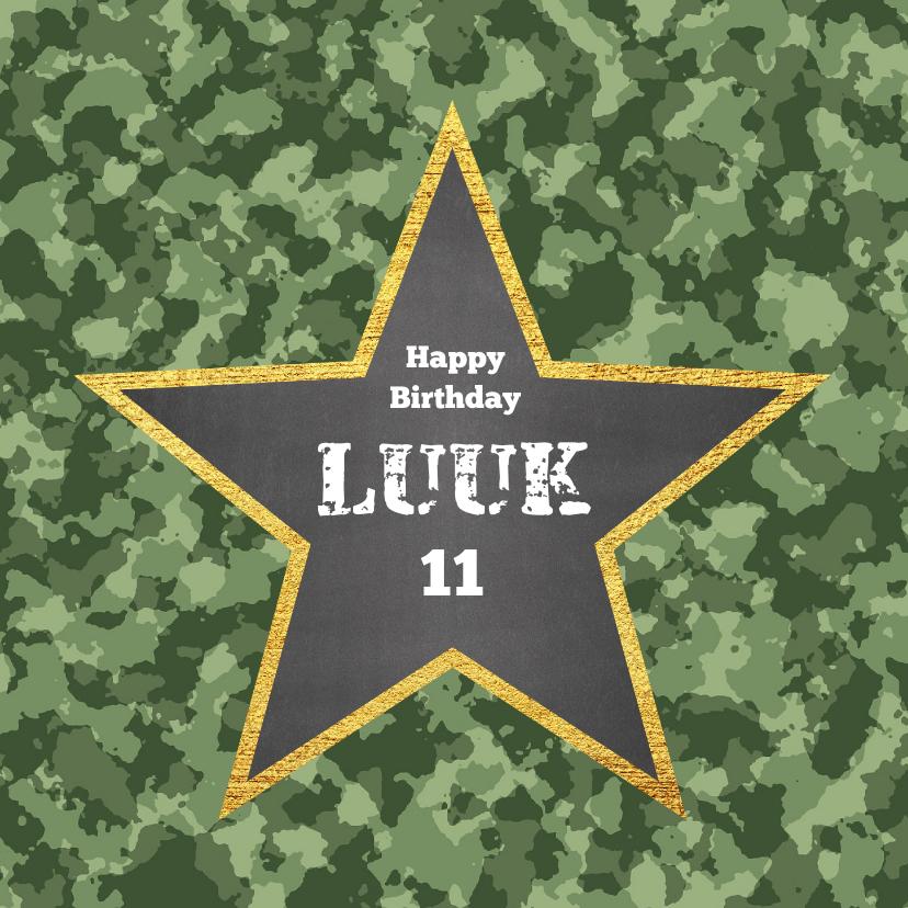 Verjaardagskaarten - Stoere legerprint kaart met naam