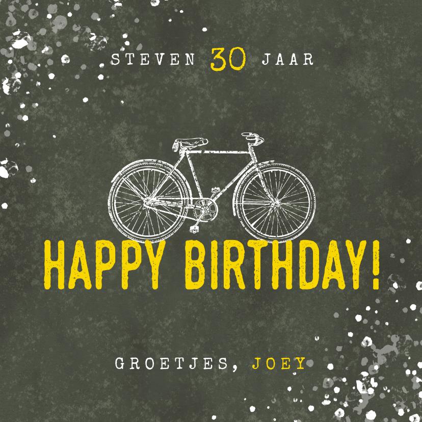 Verjaardagskaarten - Stoere verjaardagskaart happy birthday fiets en spetters