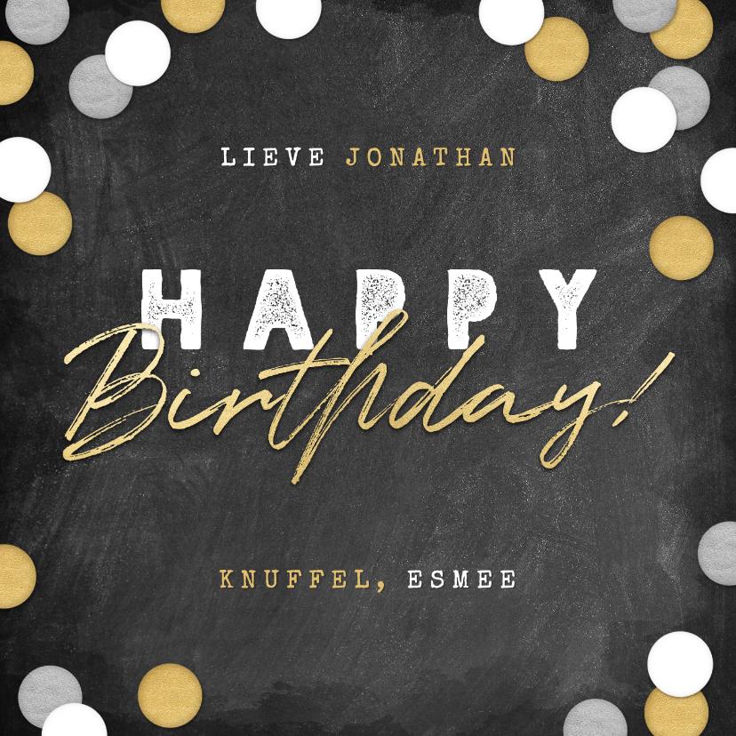 Verjaardagskaarten - Stoere verjaardagskaart krijtbord, confetti & happy birthday