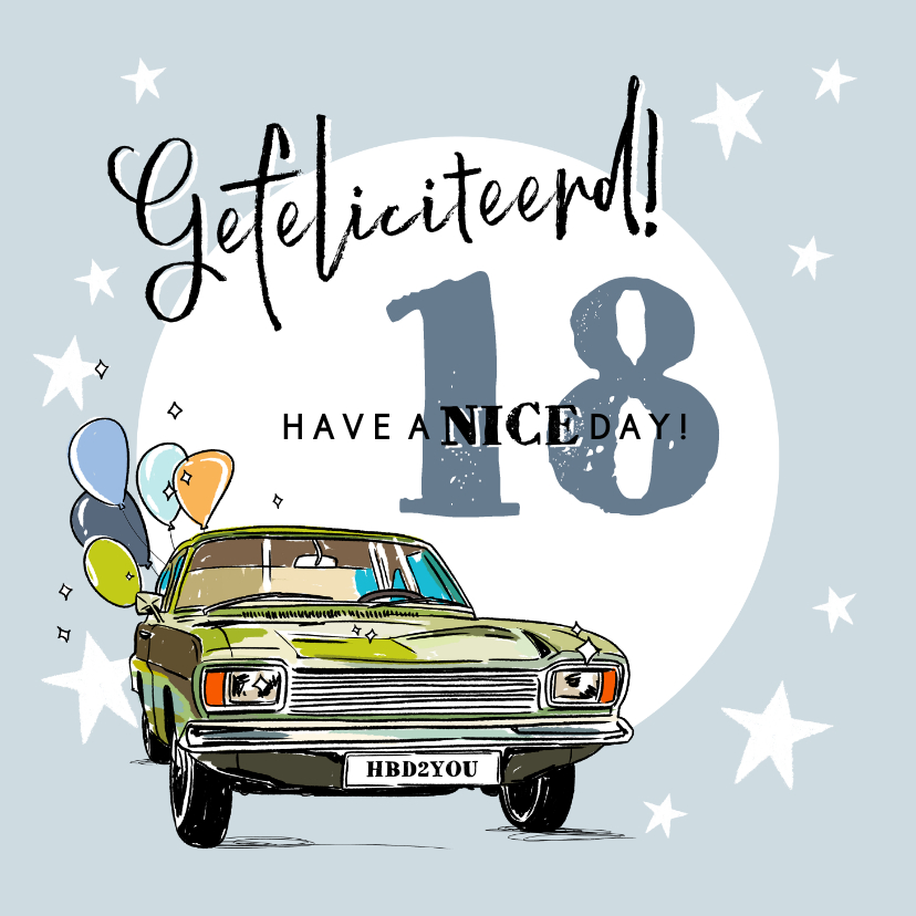 Verjaardagskaarten - Stoere verjaardagskaart met auto, ballonnen en foto