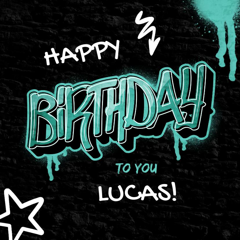 Verjaardagskaarten - Stoere verjaardagskaart met naam in graffiti stijl