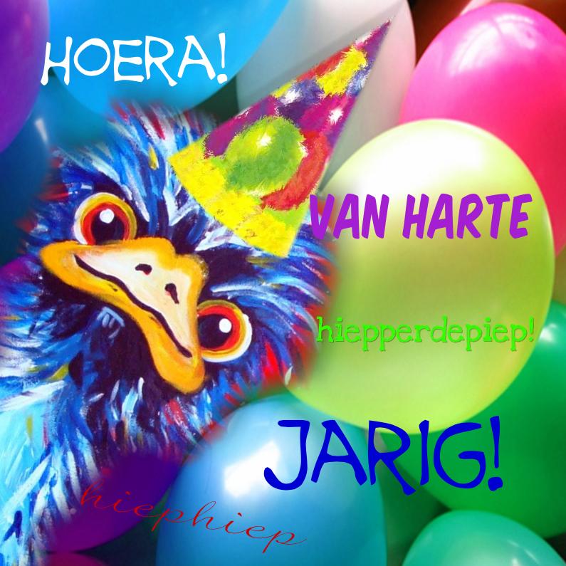 Verjaardagskaarten - Struisvogel jarig