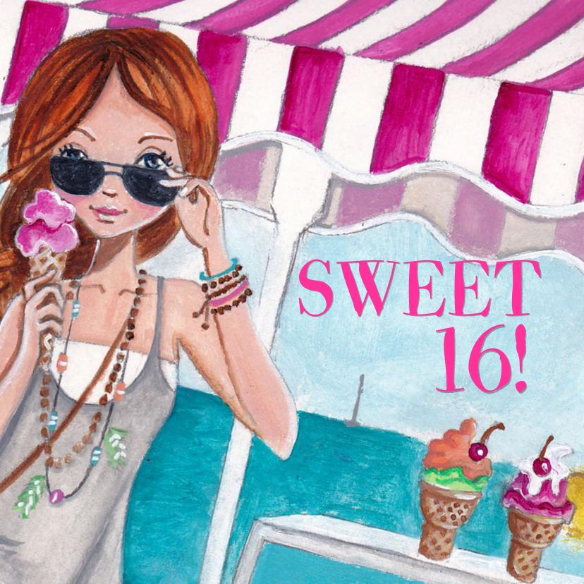 Verjaardagskaarten - Sweet 16 Strand Zee Feest Illustratie