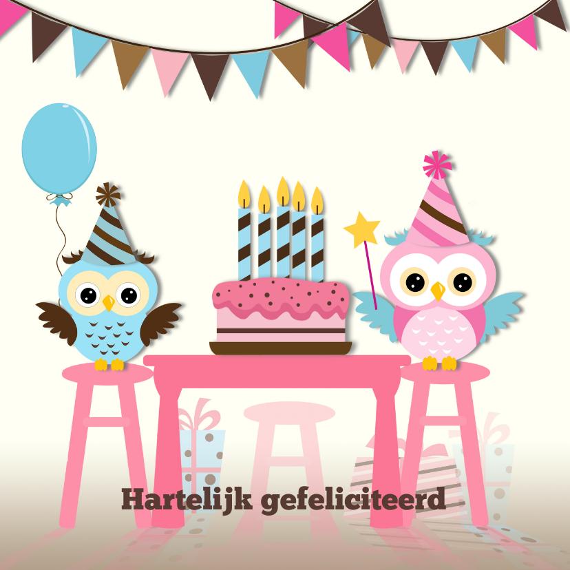 Verjaardagskaarten - Taart met 1 - 5  blauwe kaarsen