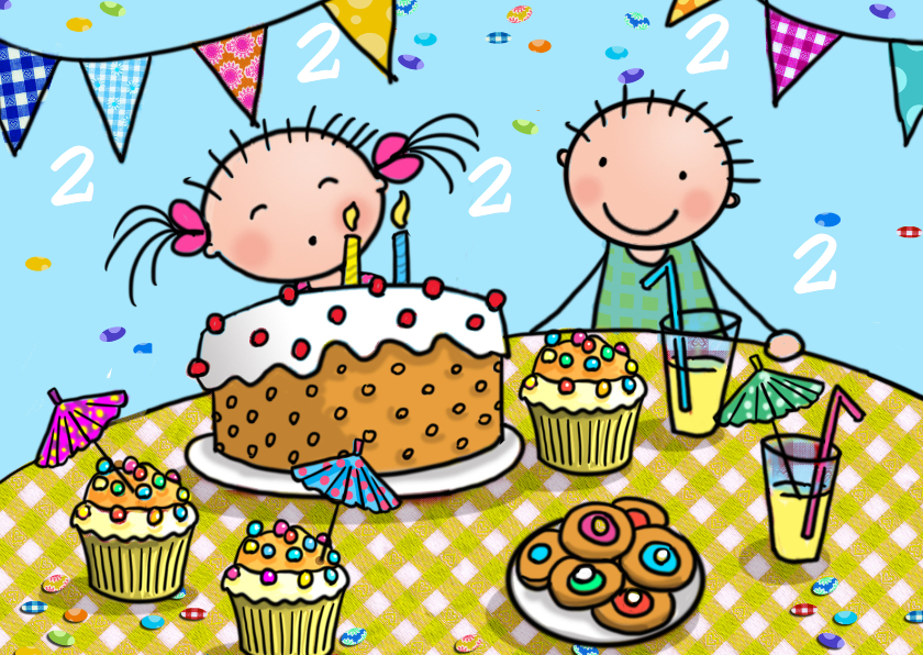 Taartjes 2 Jaar Verjaardagskaarten Kaartje2go