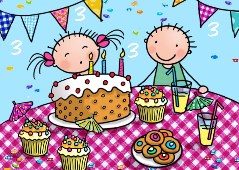 Verjaardagskaarten - Taartjes 3 jaar