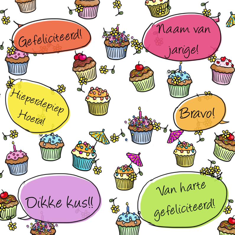 Verjaardagskaarten - taartjes met tekstballon