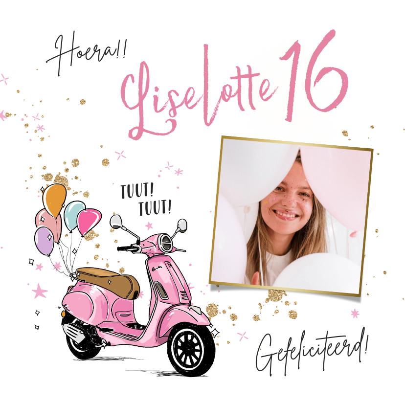Verjaardagskaarten - Toffe verjaardagskaart met trendy scooter en ballonnen