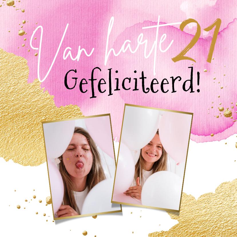 Verjaardagskaarten - Trendy fotokaart met watercolour in roze en goud
