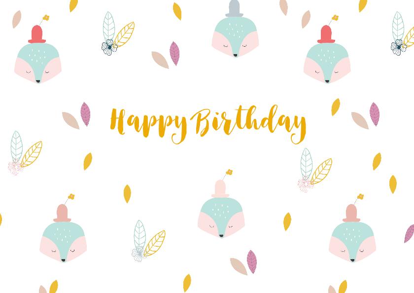 Verjaardagskaarten - Trendy verjaardagskaart vosje met hoedje en bloem