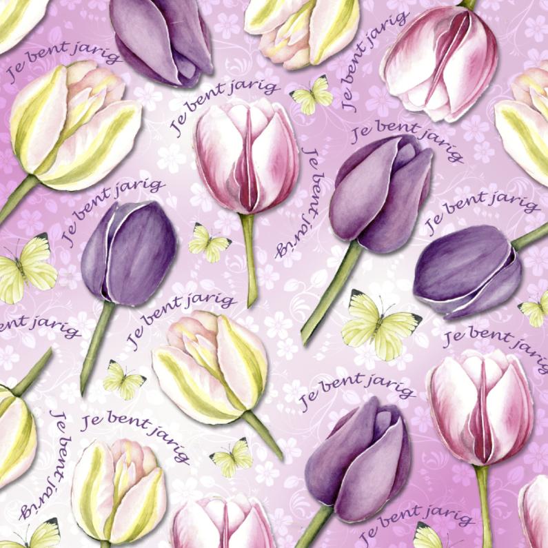 Verjaardagskaarten - Tulpenkaart in roze met vlinders