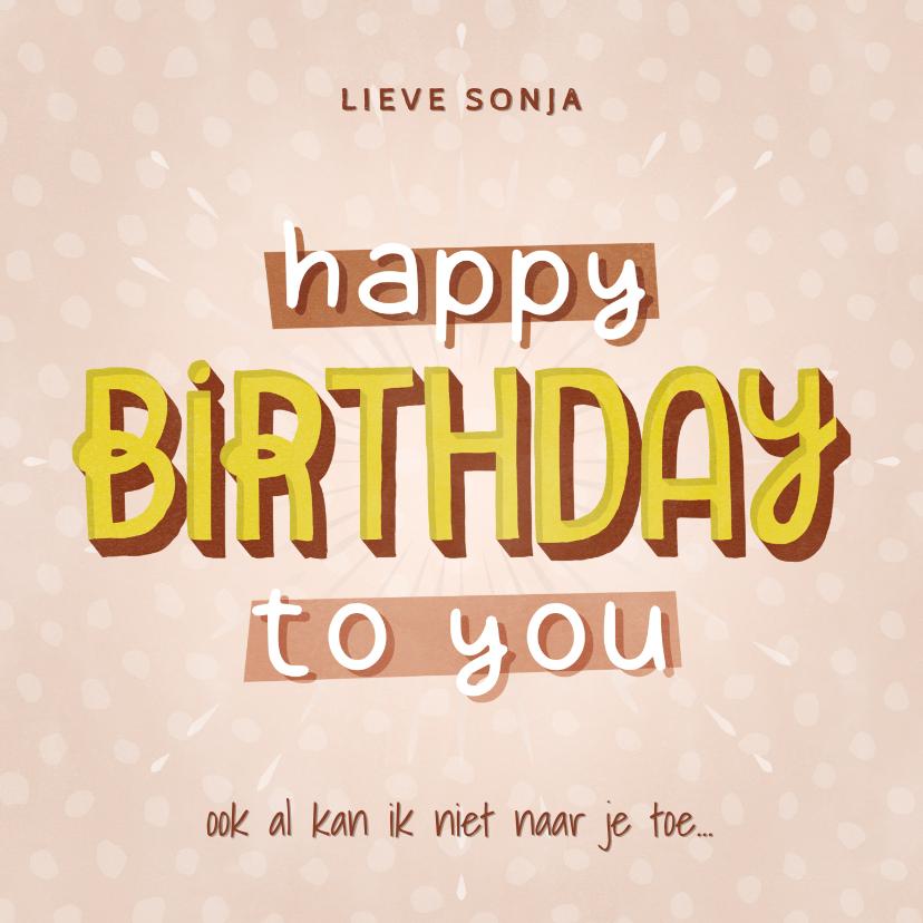 Verjaardagskaarten - Typografische hippe verjaardagskaart happy birthday to you