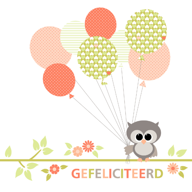 Verjaardagskaarten - Uiltje met ballonnen