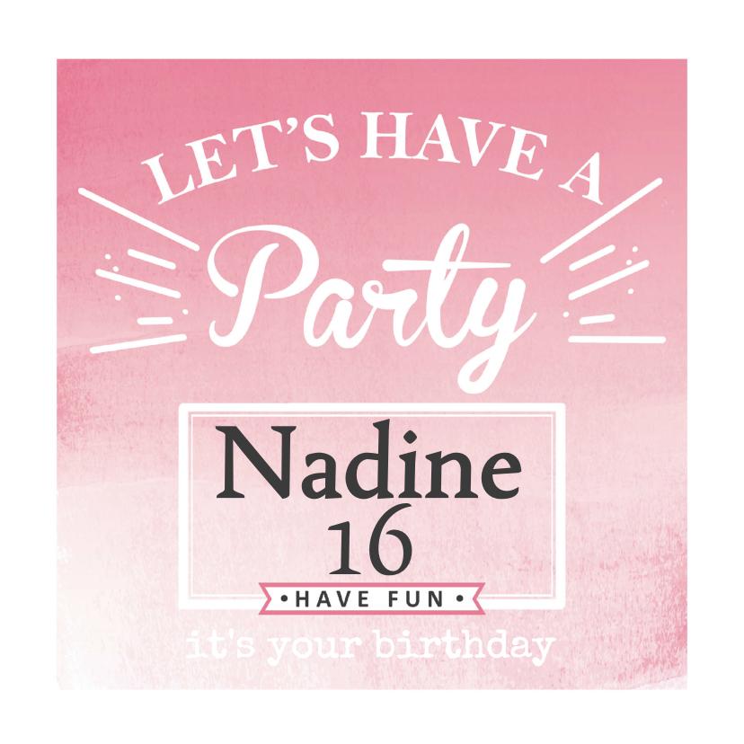 Verjaardagskaarten - Uitnodiging Party - BF