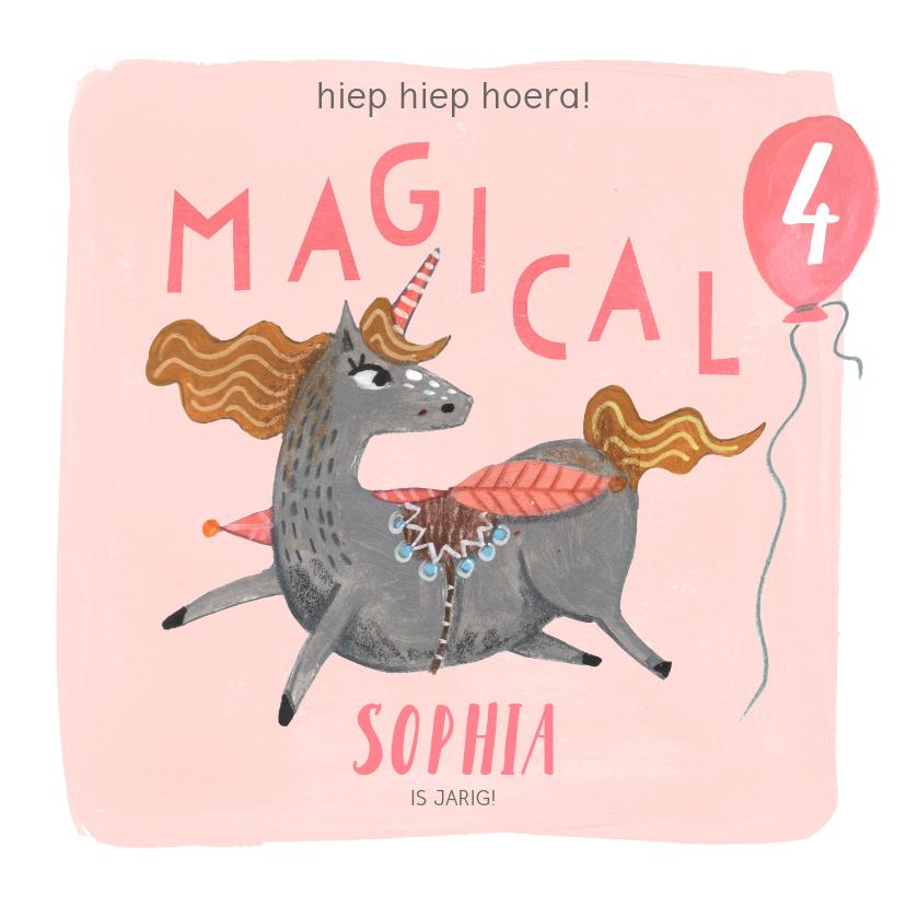 Verjaardagskaarten - Unicorn verjaardagskaart roze