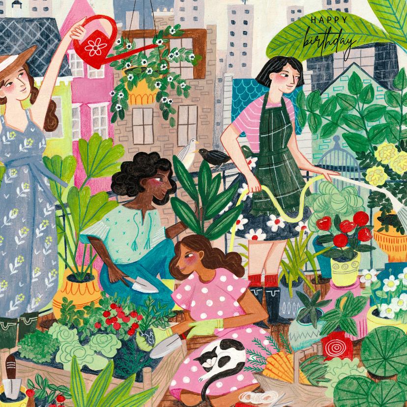 Verjaardagskaarten - Urban gardening, tuinieren in de stad verjaardagskaart