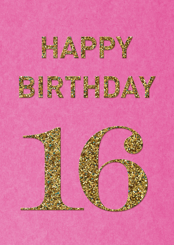 Verjaardag 16 Glitter Verjaardagskaarten Kaartje2go
