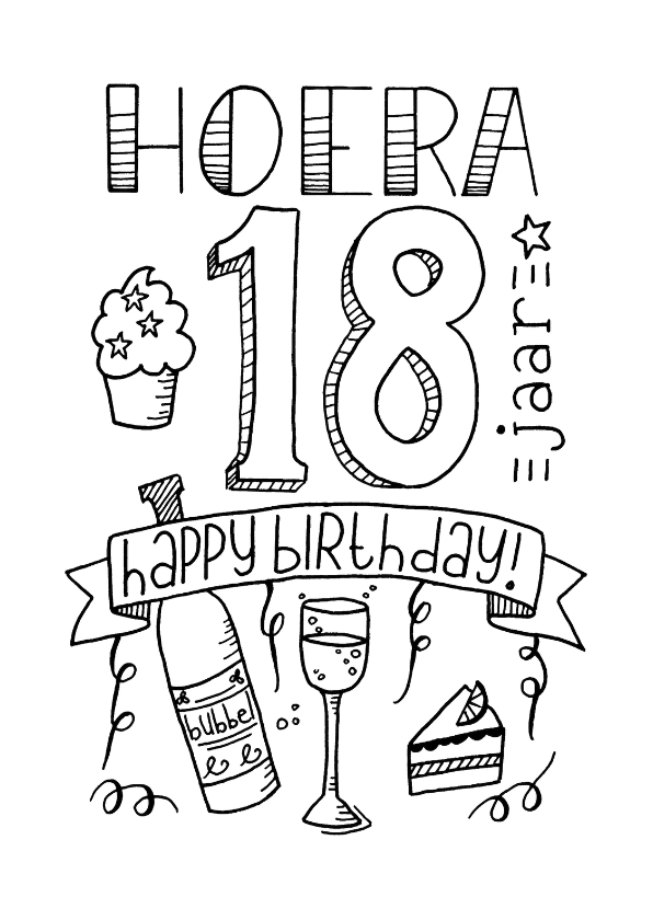 Kleurplaat 50 Jaar Vrouw Verjaardag 18 Handlettering Ts Kaartje2go