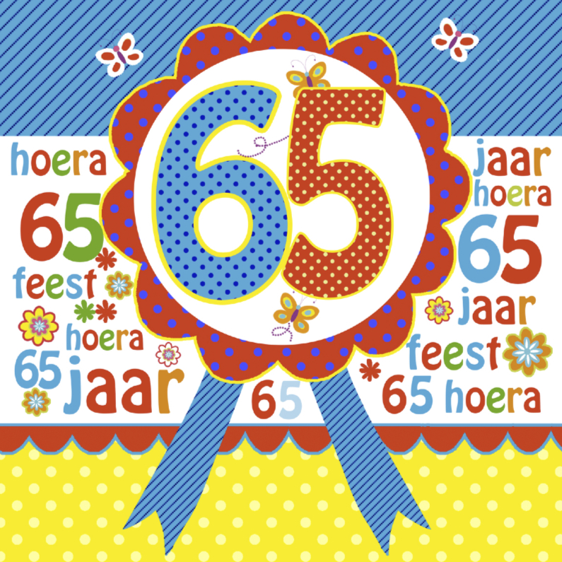 Verjaardagskaarten - verjaardag 65 jaar rozet