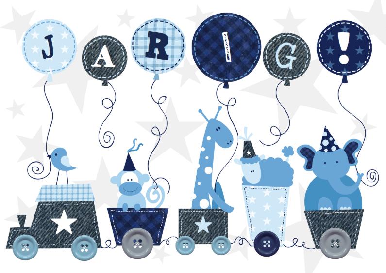 Verjaardagskaarten - Verjaardag Animal Train Blauw