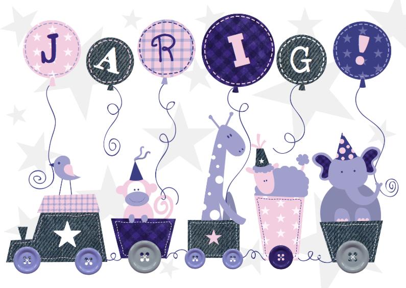 Verjaardagskaarten - Verjaardag Animal Train Roze