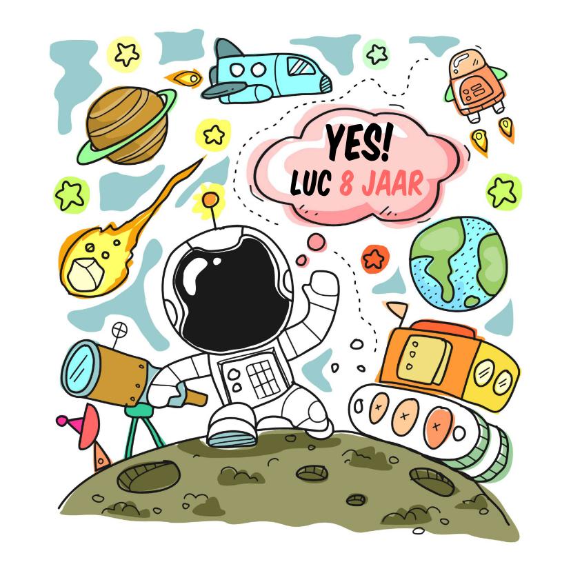 Verjaardagskaarten - Verjaardag astronaut ruimte