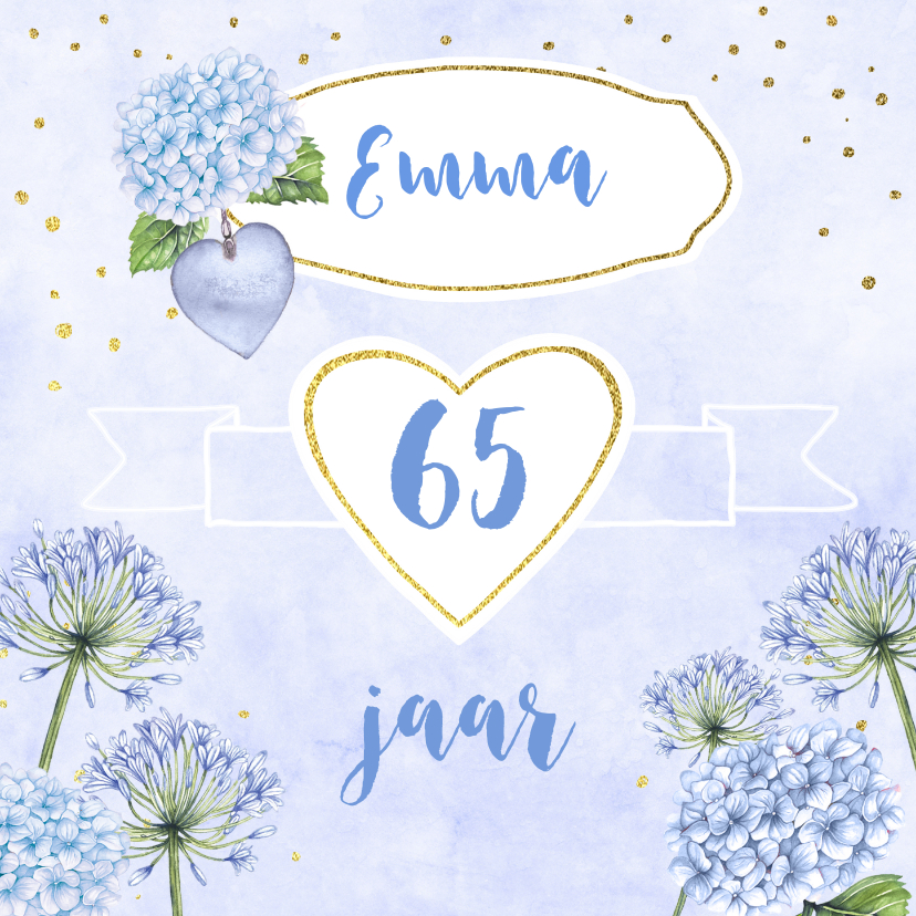Verjaardagskaarten - Verjaardag blauwe bloemen aquarel