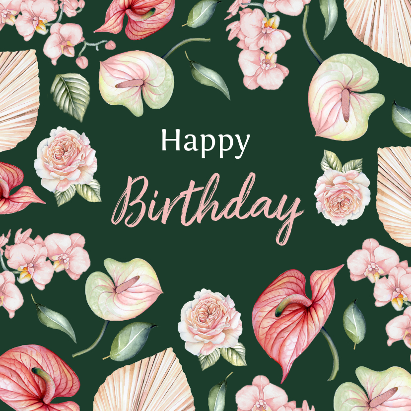 Verjaardagskaarten - Verjaardag bloemen botanical flowers