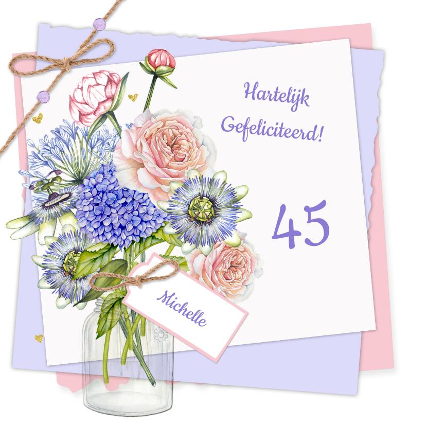 Verjaardagskaarten - Verjaardag bloemen vaas