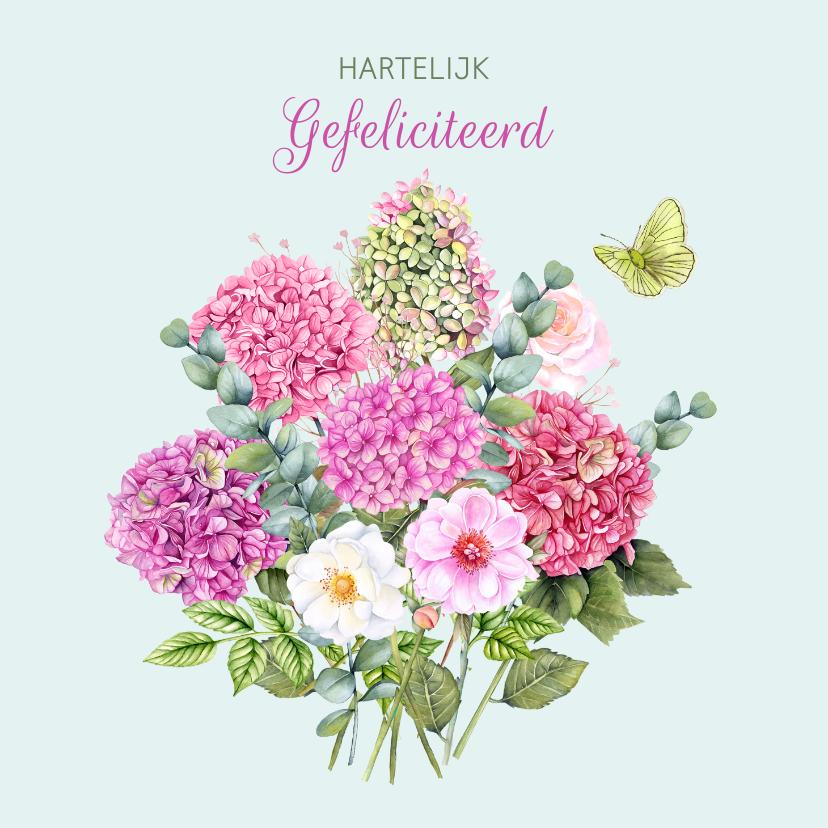 Verjaardagskaarten - Verjaardag boeket hortensiabloemen
