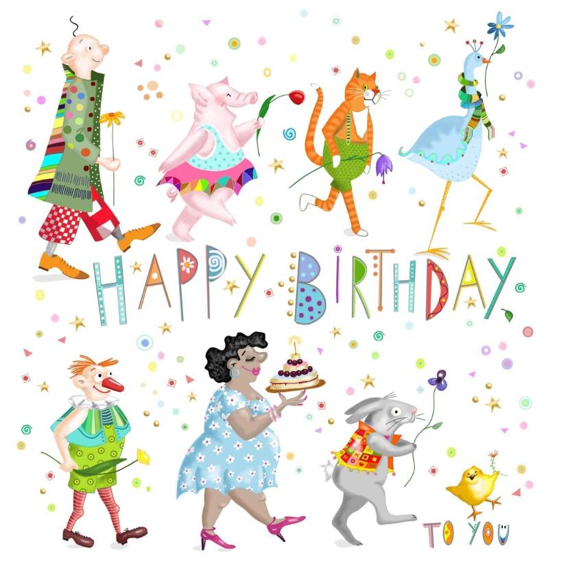 Verjaardagskaarten - Verjaardag - bonte bloemenoptocht voor jou