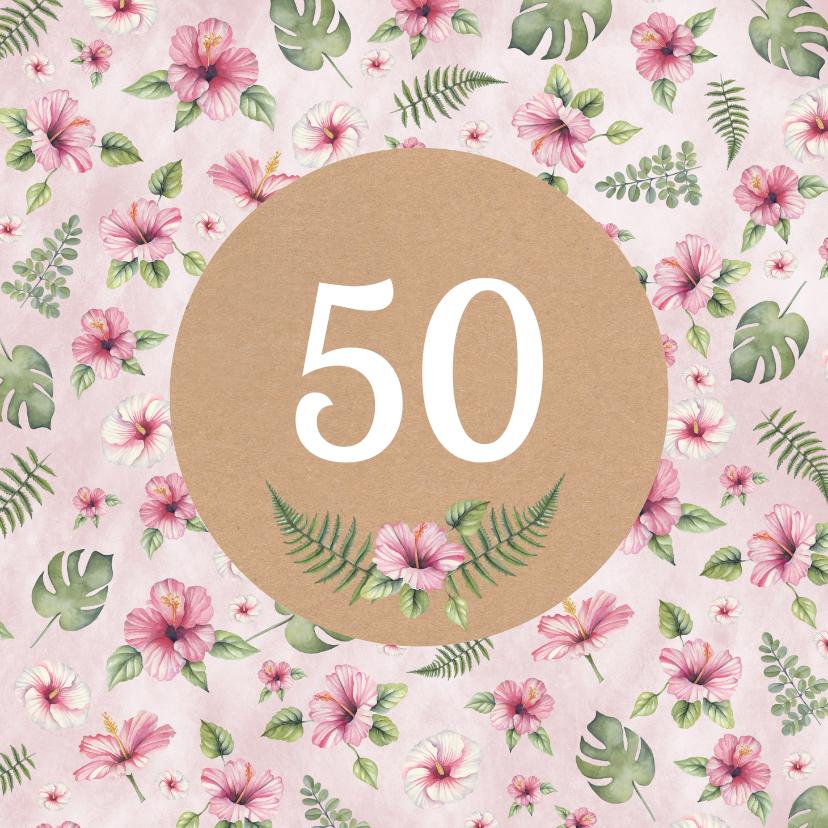 Verjaardagskaarten - Verjaardag botanical patroon