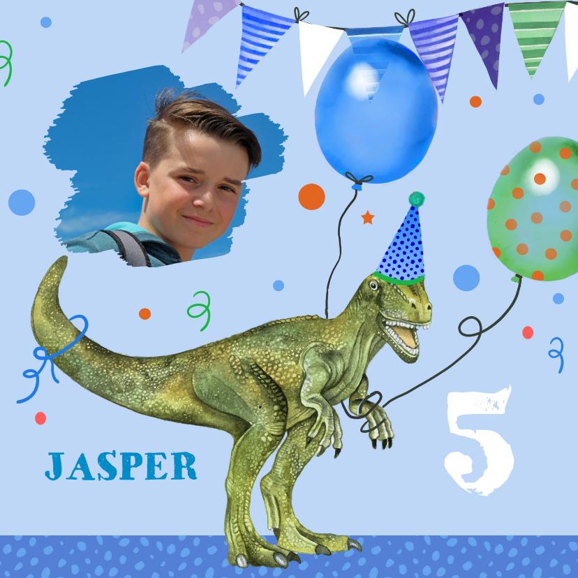 Verjaardagskaarten - Verjaardag dinosaurus ballonnen