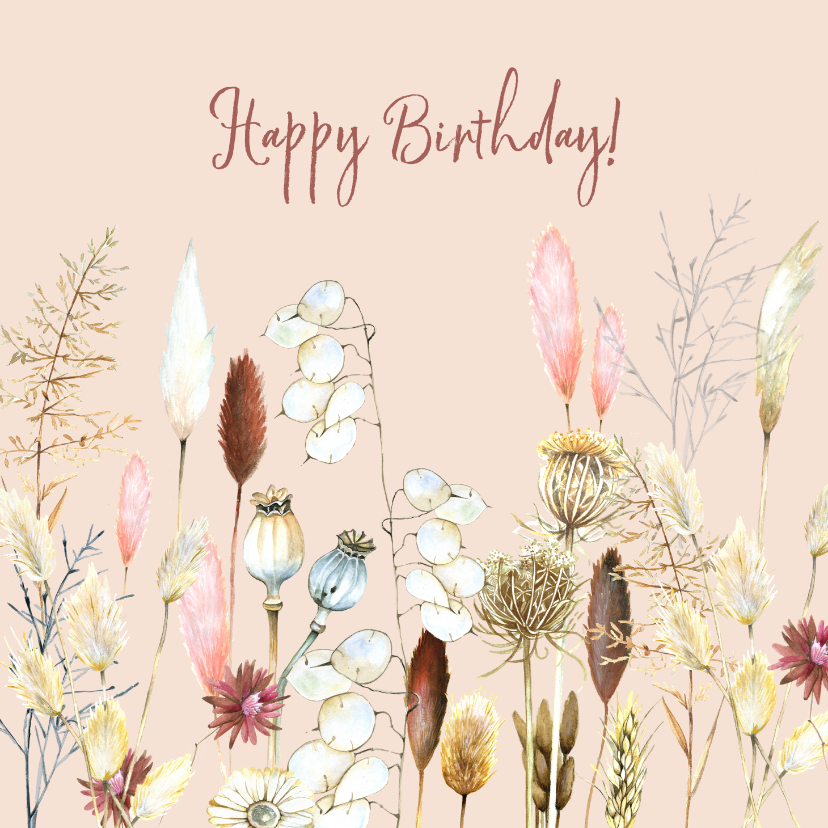 Verjaardagskaarten - Verjaardag droogbloemen pampus
