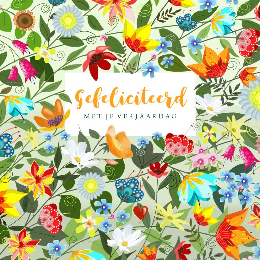 Verjaardagskaarten - Verjaardag - fantasie bloemen
